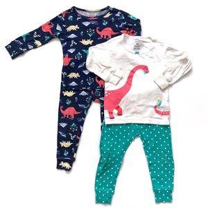 Baby Girl Dinosaurs Pajama Sets Lot Bundle